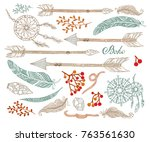 hand painted set in boho style... | Shutterstock .eps vector #763561630