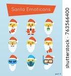 set of santa emoticons ... | Shutterstock .eps vector #763566400
