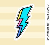 lightning patch vector. hand... | Shutterstock .eps vector #763566910