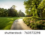 panorama of city park with... | Shutterstock . vector #763572298