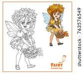 cute girl in a fairy costume in ... | Shutterstock .eps vector #763576549