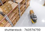 classic warehouse with pallet... | Shutterstock . vector #763576750