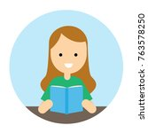 cute woman reading book. vector ... | Shutterstock .eps vector #763578250