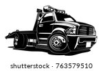 cartoon tow truck isolated on... | Shutterstock .eps vector #763579510