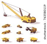vector low poly mining machines ... | Shutterstock .eps vector #763580119