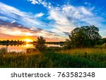 sunset river horizon landscape | Shutterstock . vector #763582348