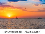 sunset sea horizon landscape | Shutterstock . vector #763582354