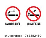 warning signs  no smoking ... | Shutterstock .eps vector #763582450