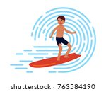 surfing on the big wave in flat ... | Shutterstock .eps vector #763584190