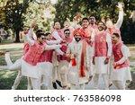 handsome bearded indian groom... | Shutterstock . vector #763586098