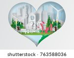 paper art of world environment... | Shutterstock .eps vector #763588036