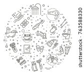 bath equipment icons made in... | Shutterstock .eps vector #763588330