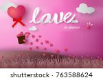 paper art of happy valentine... | Shutterstock .eps vector #763588624