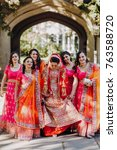 stunning indian bride dressed... | Shutterstock . vector #763588720