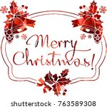 christmas label with silhouette ... | Shutterstock .eps vector #763589308