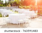 table outdoor at wedding... | Shutterstock . vector #763591483