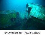 shipwreck  diving on a sunken... | Shutterstock . vector #763592803