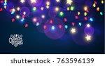 merry christmas shining... | Shutterstock .eps vector #763596139