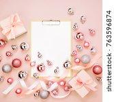 clipboard mockup  christmas... | Shutterstock . vector #763596874