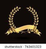 vector laurel wreath with... | Shutterstock .eps vector #763601323