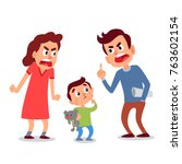 father and mother arguing... | Shutterstock .eps vector #763602154