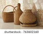 wooden baskets on a table | Shutterstock . vector #763602160