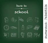set of 15 white back to school... | Shutterstock .eps vector #763605226