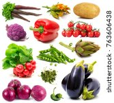 a background of fresh vegetables | Shutterstock . vector #763606438