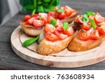 sandwiches with tomatoes and... | Shutterstock . vector #763608934