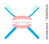toothbrushes and teeth. flat... | Shutterstock .eps vector #763609624