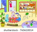 kindergarten coloring book for... | Shutterstock .eps vector #763610014