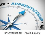apprenticeship on compass as... | Shutterstock . vector #763611199