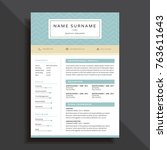 professional and simple resume... | Shutterstock .eps vector #763611643