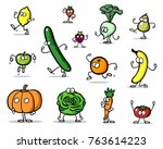 funny vegetables and fruits... | Shutterstock . vector #763614223
