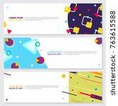 memphis style banner design set ...   Shutterstock .eps vector #763615588
