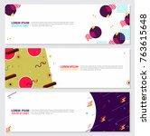 memphis style banner design set ...   Shutterstock .eps vector #763615648