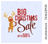 a square christmas sale card...   Shutterstock .eps vector #763618930