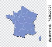 france map.high detailed blue... | Shutterstock .eps vector #763620724
