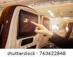 hand touching lcd at the... | Shutterstock . vector #763622848