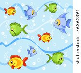 seamless with fish. cartoon... | Shutterstock .eps vector #76362391