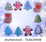 christmas cookies and... | Shutterstock . vector #763624408