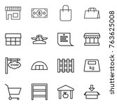 thin line icon set   shop ... | Shutterstock .eps vector #763625008