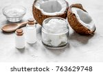 organic cosmetics with coconut... | Shutterstock . vector #763629748