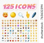 set of realistic cute icons on... | Shutterstock .eps vector #763632394