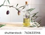 still life with olive branch... | Shutterstock . vector #763633546