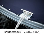 close up of a chrome boat cleat ... | Shutterstock . vector #763634164