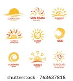 sketch of sun with text... | Shutterstock .eps vector #763637818