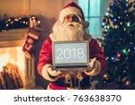 portrait of happy santa claus... | Shutterstock . vector #763638370