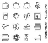 thin line icon set   wallet ... | Shutterstock .eps vector #763639390