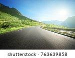 summer road in mountain ... | Shutterstock . vector #763639858